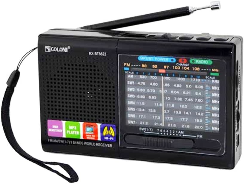 FM/AM/SW (1-7) 9-Wave Band Smart-US Rechargeable Portable Professional Radio That can be Used as MP3 and Speakers by Connecting Blue Tooth USB Sticks and Memory Cards (Black)