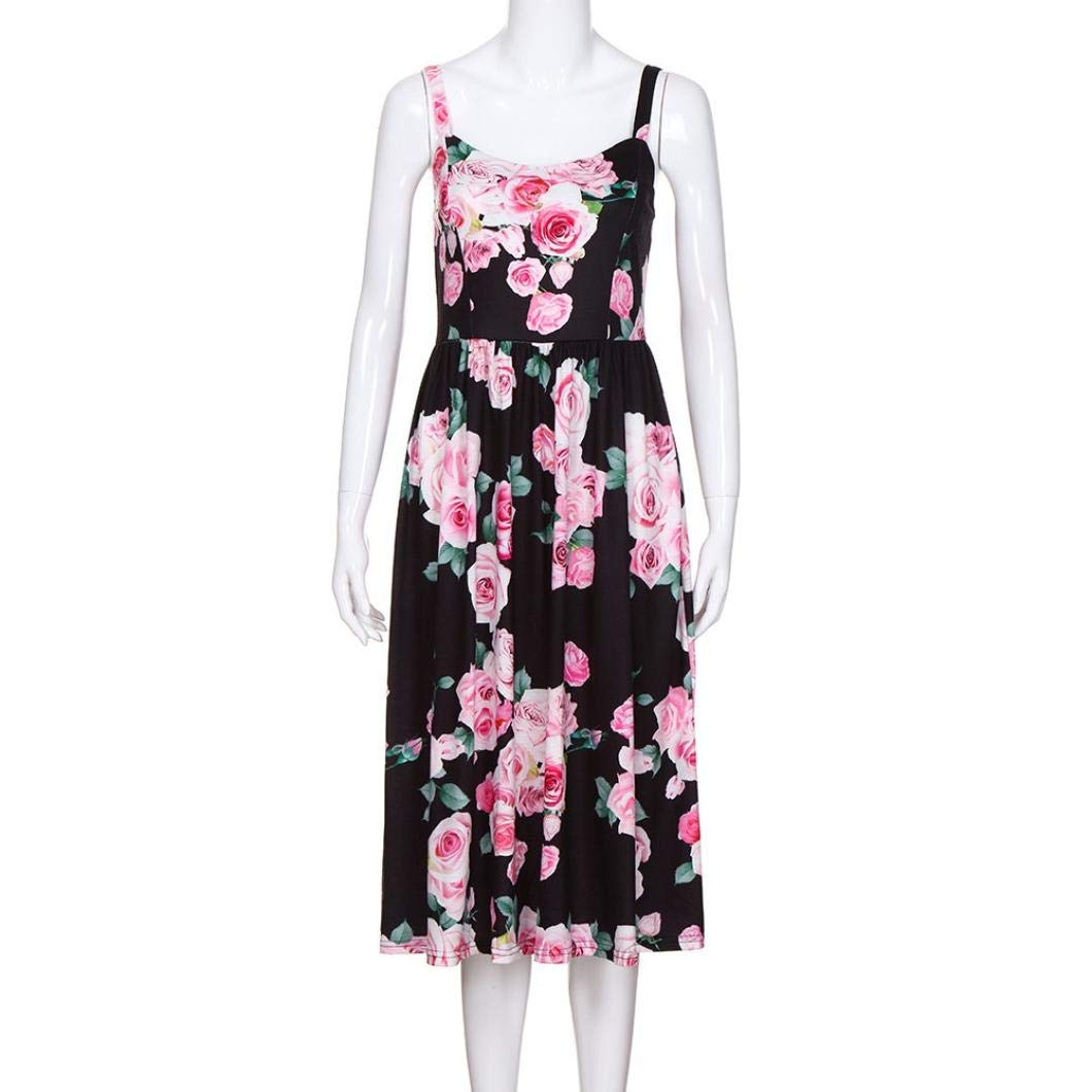 Appoi Mommy & Me Long Dress,Women's Lady's Sleeveless Floral Print Loose Boho Princess Dress Family Clothes (MOM:M, Black)