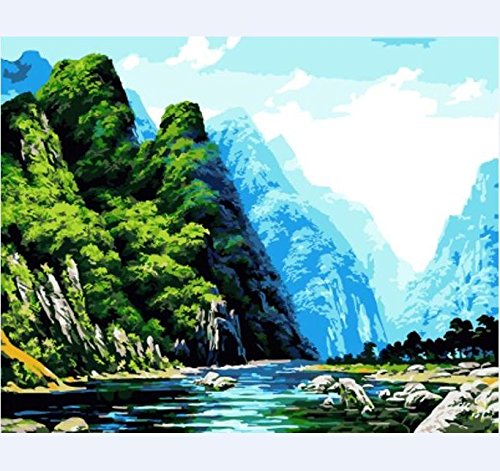 [Wooden Framed] Diy Oil Painting Paint by Number Kit for Adult Kids - Mountain Creek 16x20 Inch