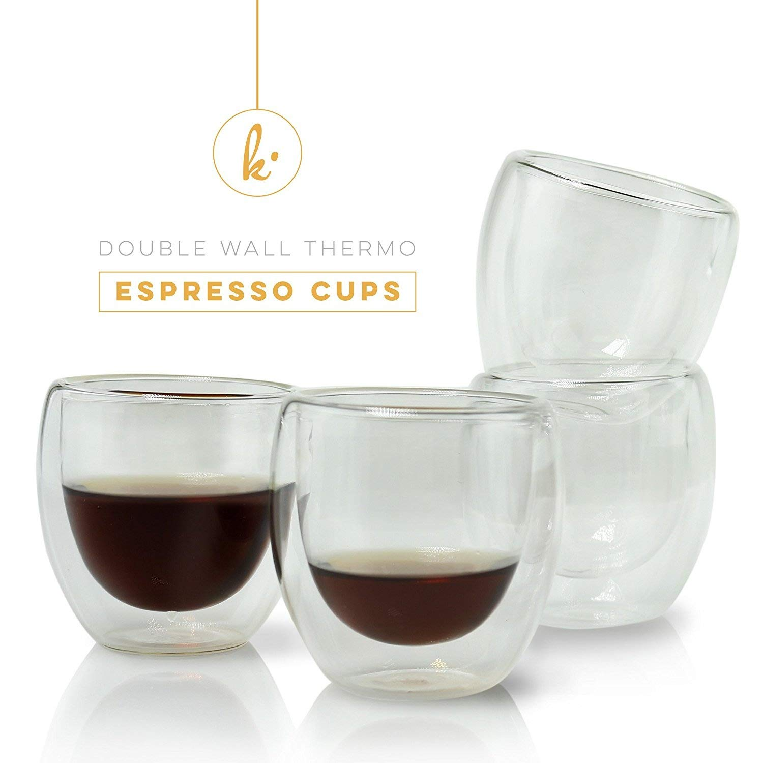 Espresso Cups Shot Glass Coffee Set of 2 - Double Wall Thermo Insulated Kitchables SYNCHKG129552