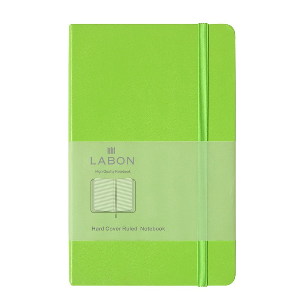 Labon's Hardcover Notebook Premium Thick Paper Journal Diary Elastic Band Expandable Paper Pocket ( A6 Black, Squared ) labon' s