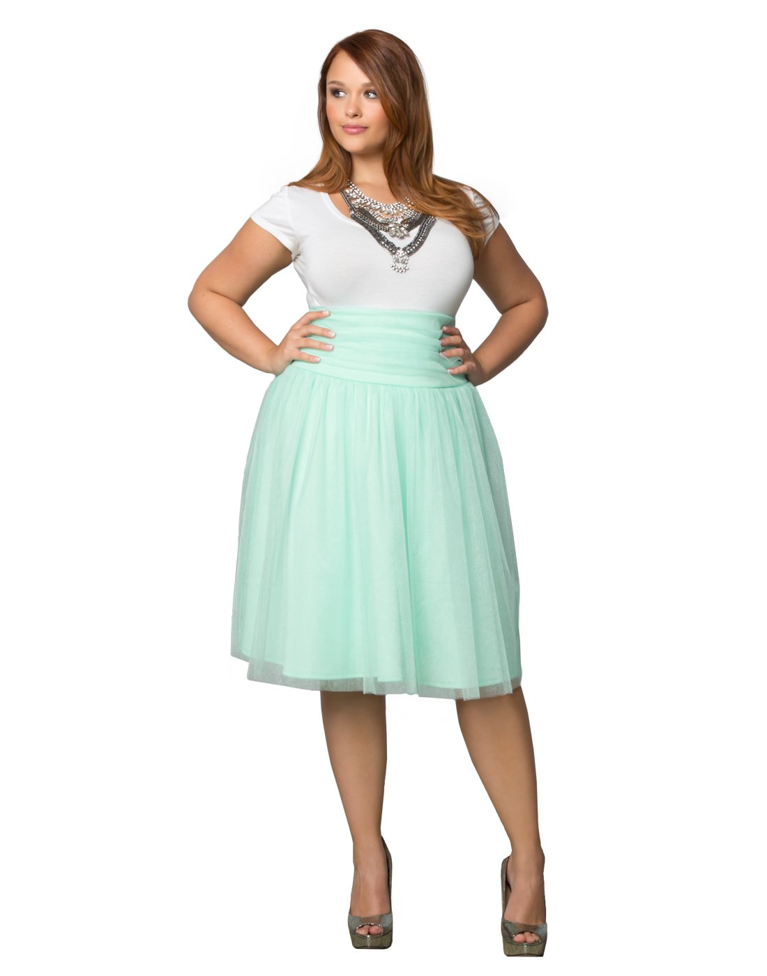 Kiyonna Women's Plus Size Twirling In Tulle Skirt 2X Mint To Be