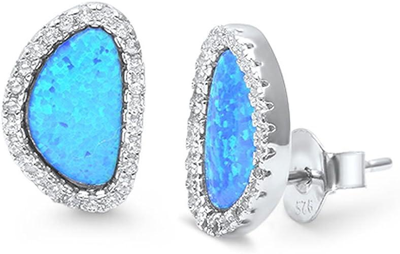 USA Seller Hoop Earrings Blue Lab Opal Sterling Silver 925 Best Price Jewelry