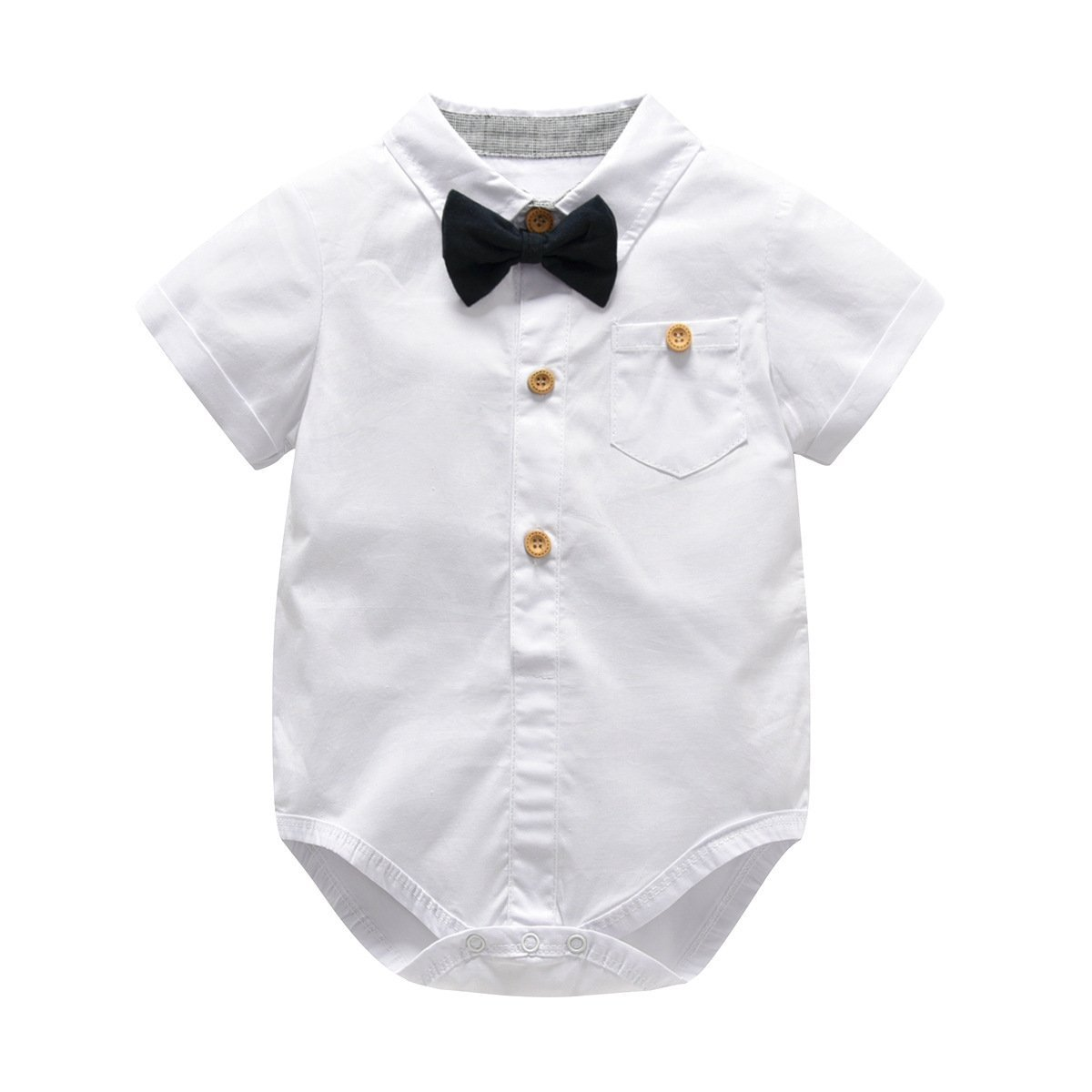 Newborn Baby Boy Romper and Overall Infant Toddler Formal Suit 4 Pcs Set Bowie Suspender Romper Shorts