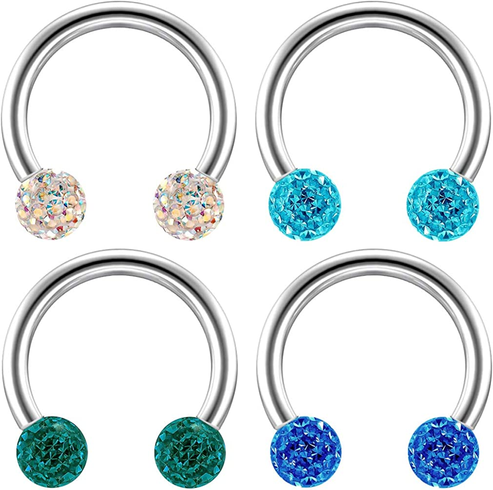 Bling Piercing 4pc 16g Curved Barbell Cartilage CZ Tragus Eyebrow Surgical Steel Cubic Zirconia Earring Studs 8mm
