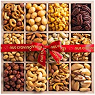 Gourmet Gift Basket, Fresh Nut Assortment Wood Tray (12 Mix) - Edible Care Package Set, Birthday Party Food Arrangement Platter - Healthy Snack Box for Families, Women, Men, Adults - Prime Delivery