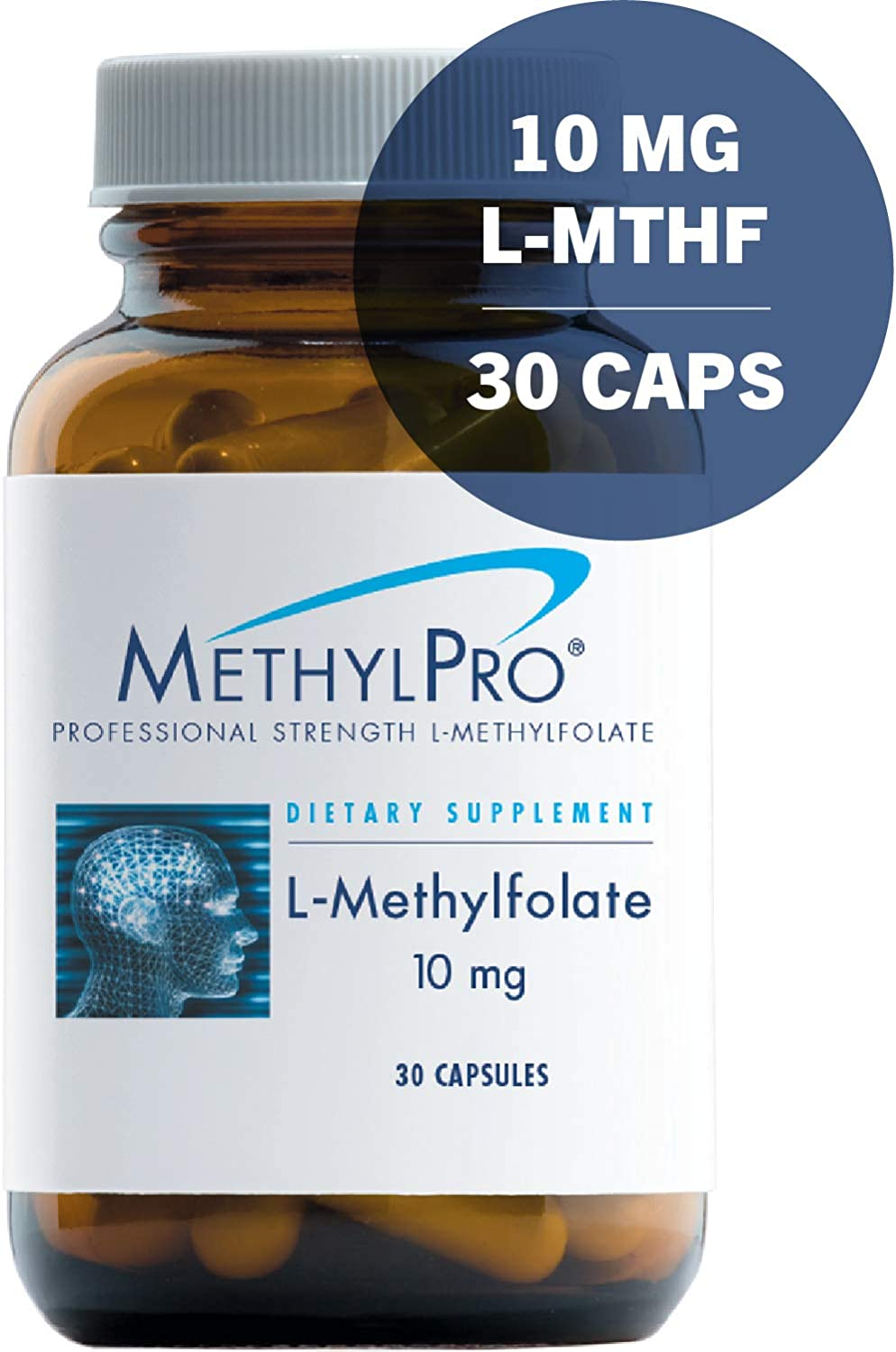MethylPro 10mg L-Methylfolate 30 Capsules – No Fillers, Professional Strength 10000mcg Active Folate, 5-MTHF for Mood, Homocysteine Methylation Immune Support, Non-GMO Gluten-Free