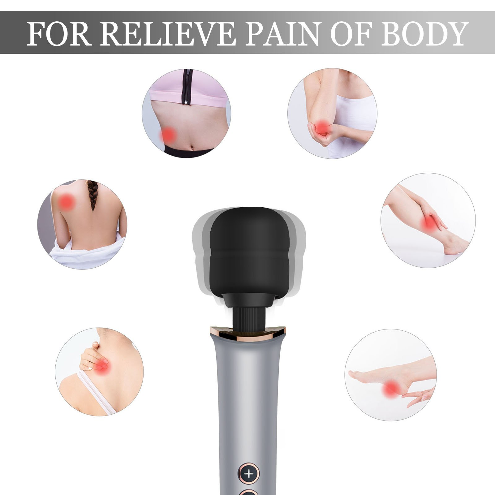 Wireless Electric Massagers,Handheld Ultra Compact Power Portable with 30 Multi-Speeds Vibration Patterns Wand Massager for Body Muscle Neck Shoulder Back
