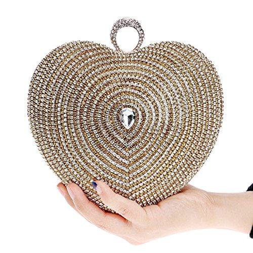Diamante Embrague en Forma Hombro en Gold Bolso un de de de en Hombro Color de Hombro Embrague en Bolso Forma corazón el Crossbody con JOYIYUAN Gold de un wOv6qII
