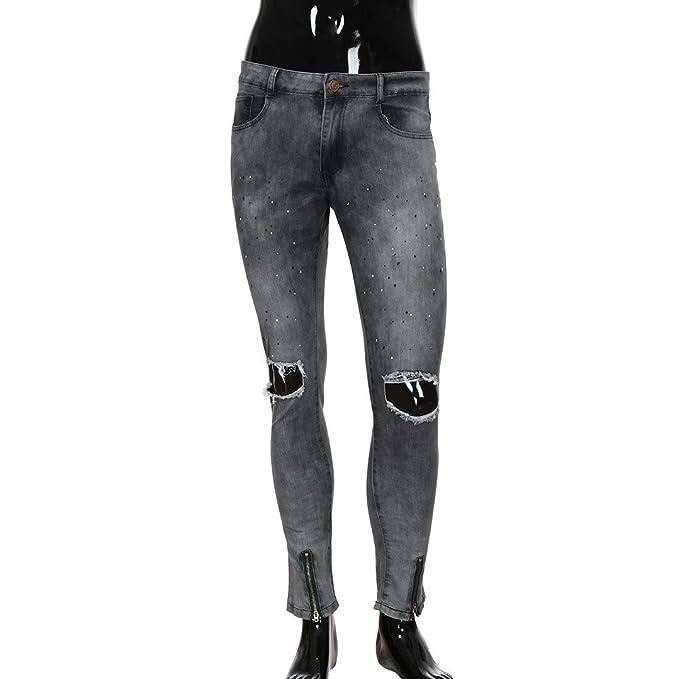 Zoilmxmen Biker Jeans for Men, Men Slim Zipper Skinny Frayed ...