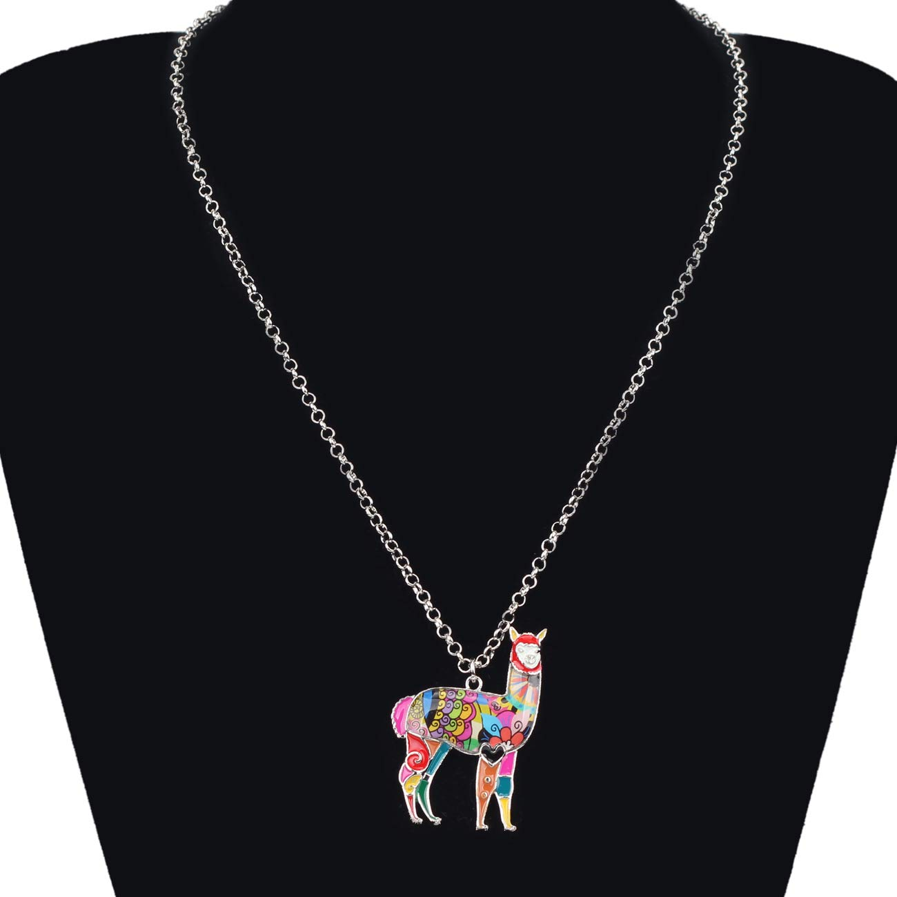 Bonsny Zinc Enamel Alloy South America Floral Alpaca Necklace Chain Pendant Jewelry for Women Girls Charms Gift AN719