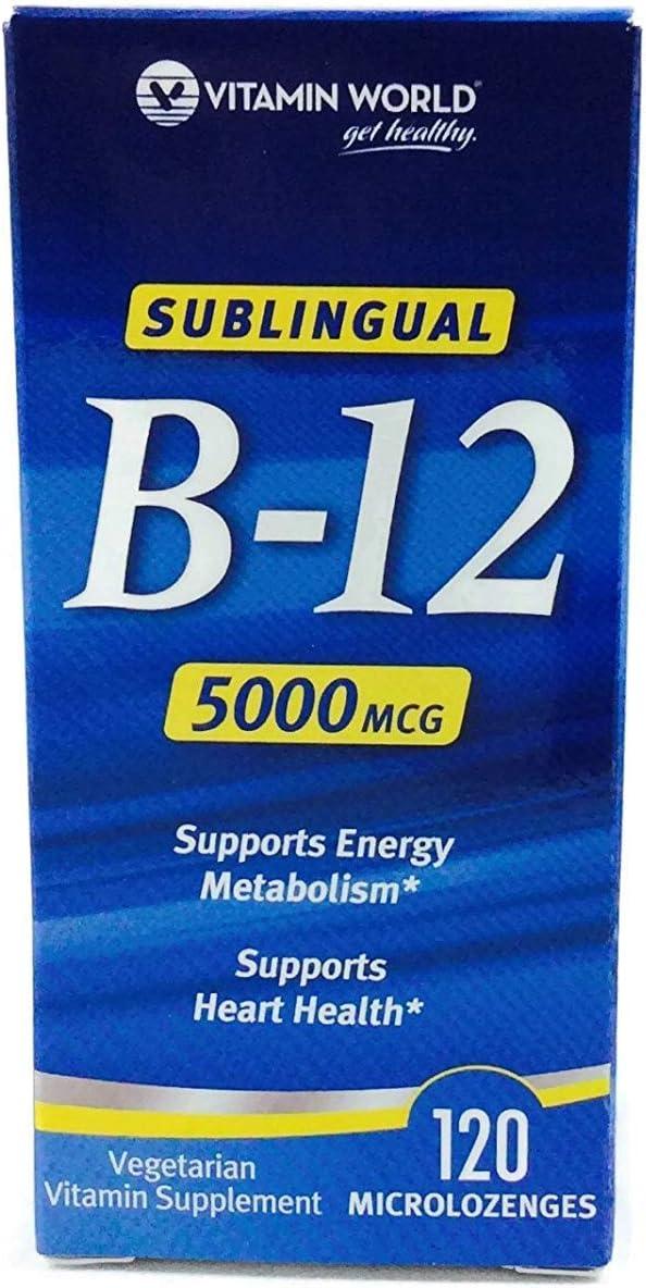 Vitamin World Sublingual B-12 5000mcg, 120 MicroLozenges