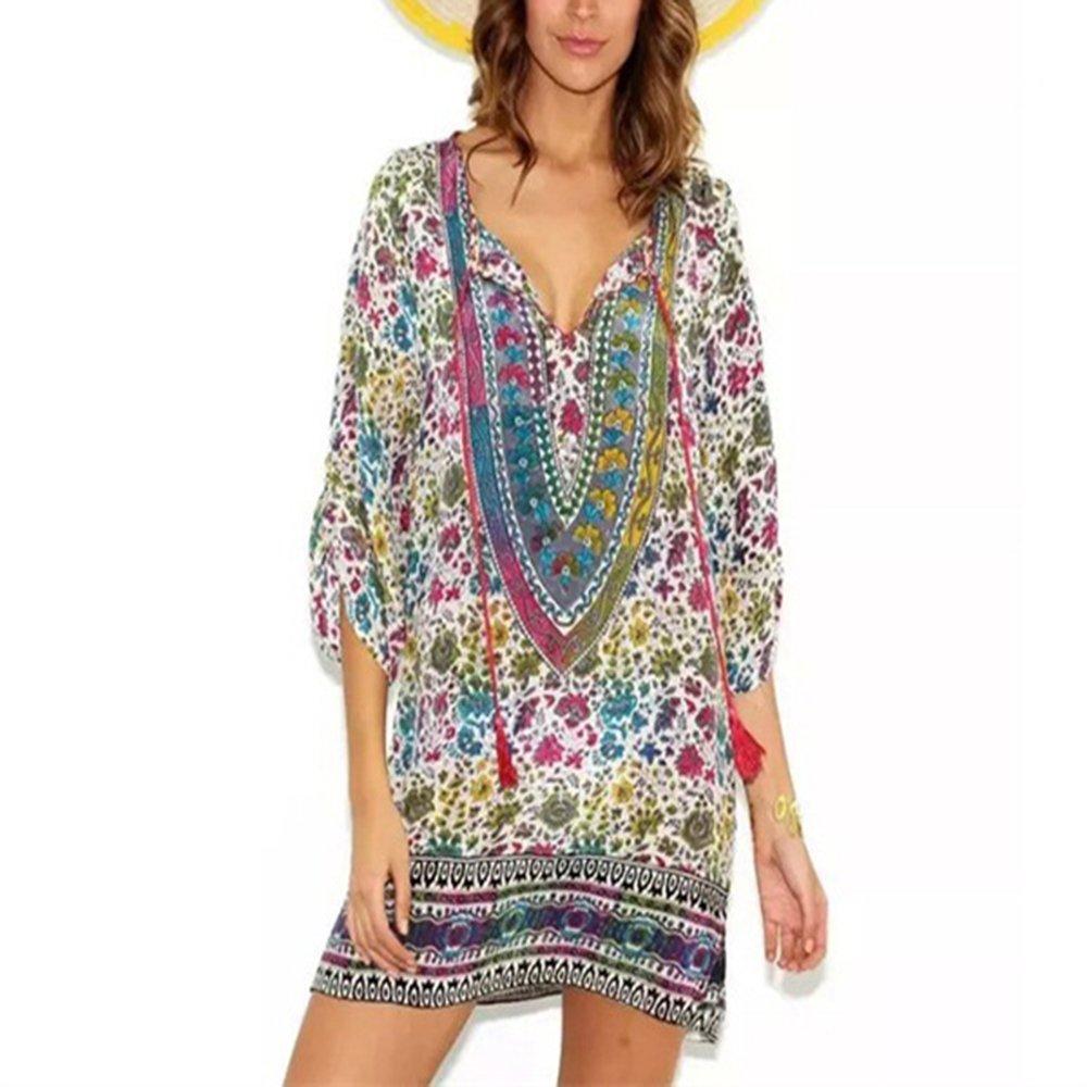 2018 Summer Ethnic Women Baroque Floral Print Beach Dress Boho Hippie Vestidos