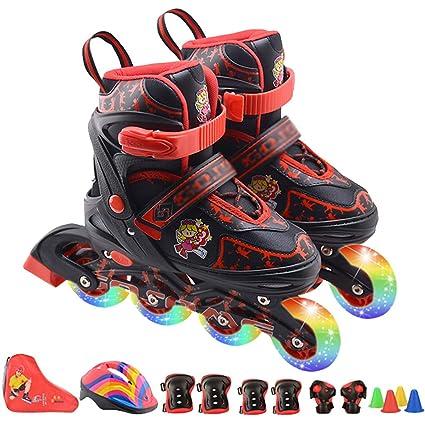 wthfwm Inline Skates Kids Blades 4 Ruedas Flash Tamaño del Zapato Ajustable para niños para niñas