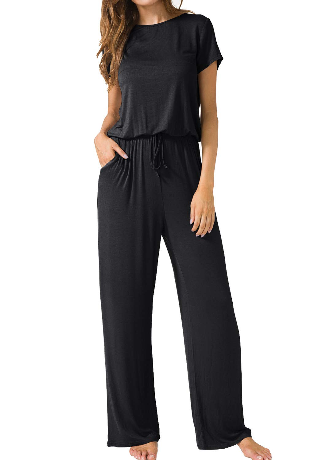 LAINAB Womens Casual Short Sleeve O Neck Wide Legs Playsuits Jumpsuits Black M by LAINAB