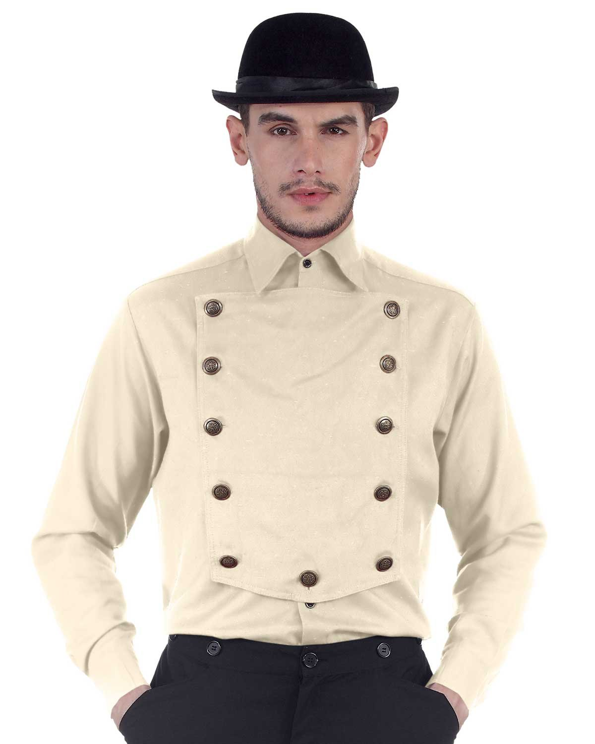 ThePirateDressing Steampunk Victorian Cosplay Costume Mens Linen Airship Shirt C1290 (Off-White) (X-Large)