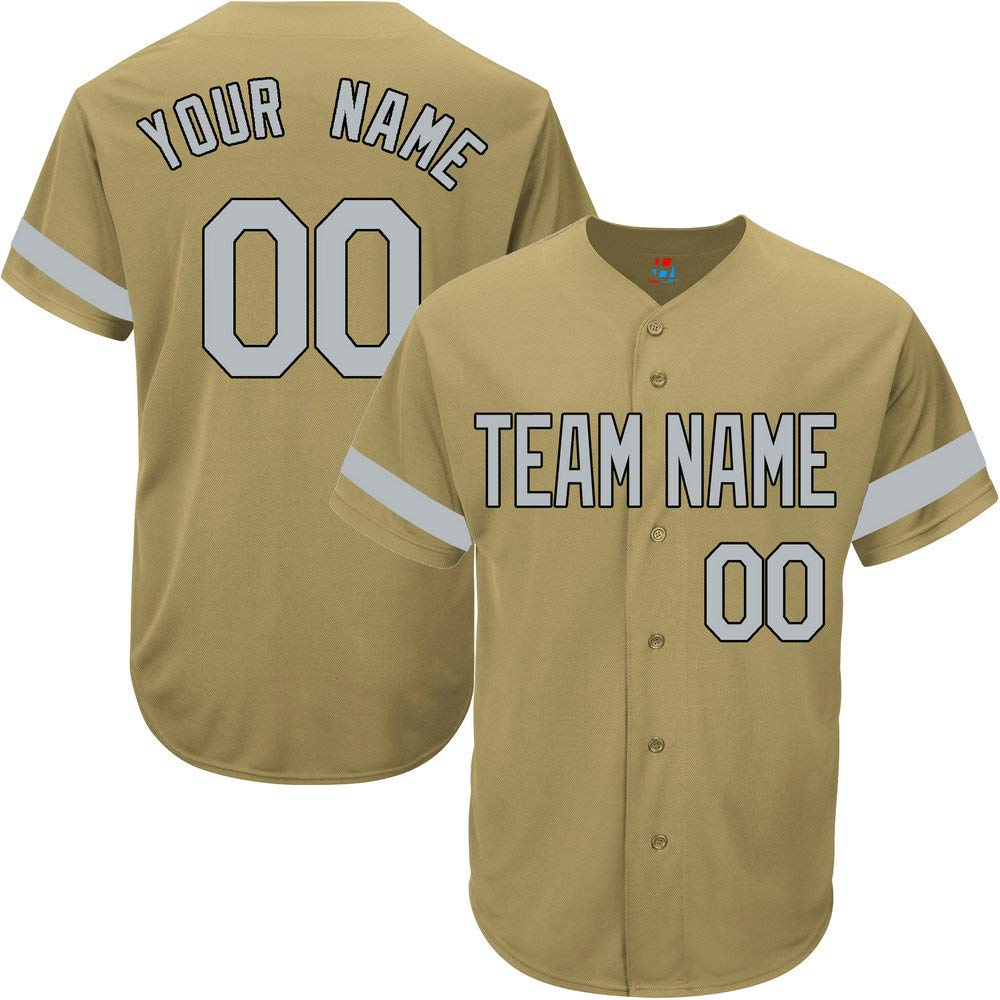 Gold Custom Baseball Jersey for Youth Game Personalized Team Player Name & Numbers,Gray-Black Striped Size S by Pullonsy
