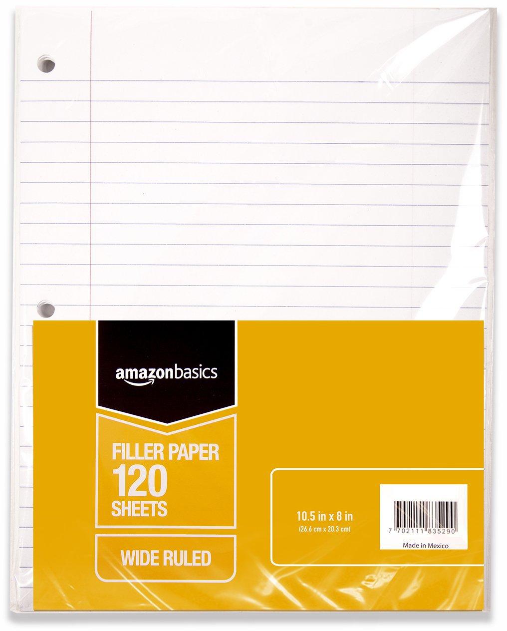 "AmazonBasics Wide Ruled Loose Leaf Filler Paper, 120-Sheet, 10.5"" x 8"", 6-Pack 10.5"" x 8"" 583528"