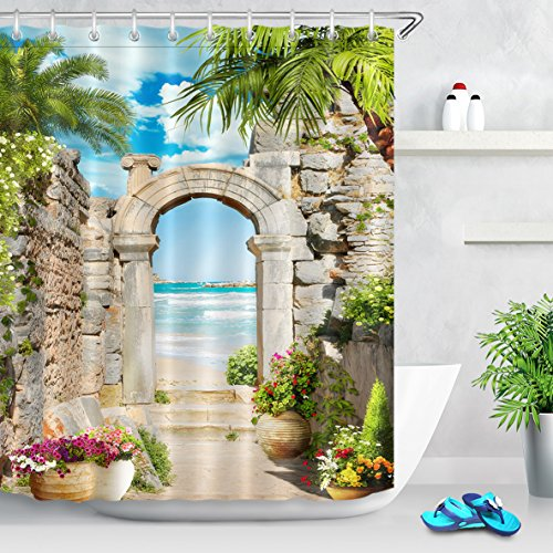 LB European Ancient Stone Archway to Sea Shower Curtain Set, Seaside Garden Scene Bathroom Decor, 70 x 70 Inches Polyester Fabric Shower Curtain Waterproof