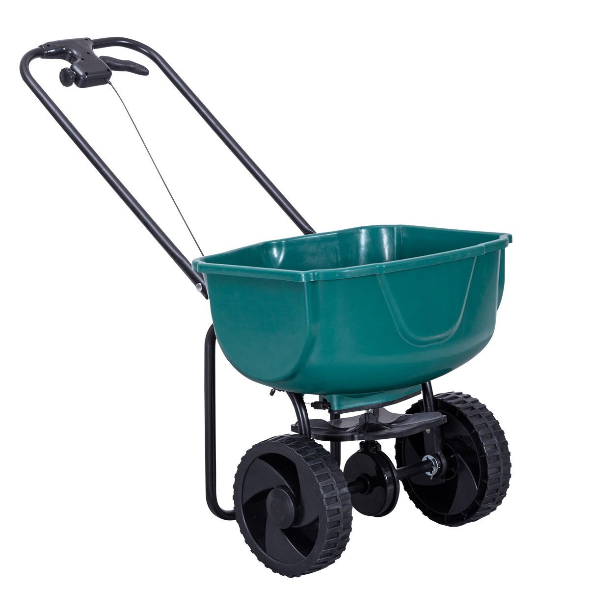 Goplus Broadcast Spreader 44Lbs Lawn Garden Seeder Walk-Behind Grass Fertilizer (Green)