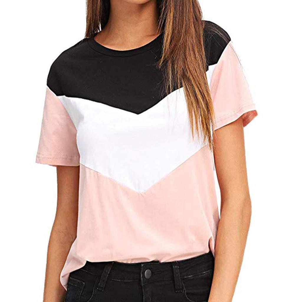 Women Color Block Blouse Short Sleeve Casual Tee Shirts Tunic Tops