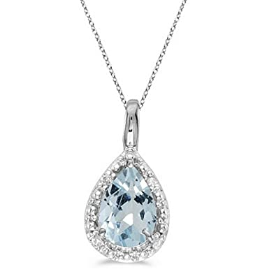 Amazon pear shaped aquamarine pendant necklace 14k white gold amazon pear shaped aquamarine pendant necklace 14k white gold 060ct jewelry aloadofball Images