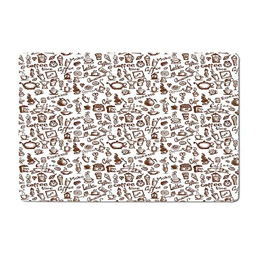 Coffee Bath mat Cool Drink Coffee Time Americano Mocha Espresso Heart Banner Cakes Cups Monochrome Outdoor mat Brown White 20