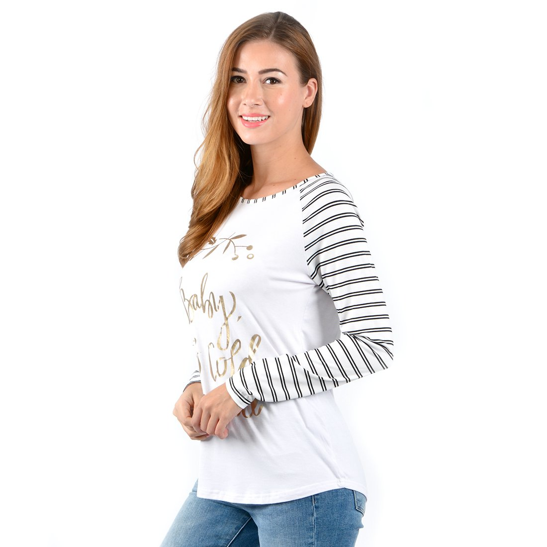 Uideazone Baby It\'s Cold Outside Print Casual T Shirt Blouse Tops With Striped Sleeve For Women