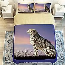 Newrara 3D Bedding Set Cheetah Digital Print Bed Sheet Pillow Cases 4PCS Duvet Cover Set (Twin, Multi)