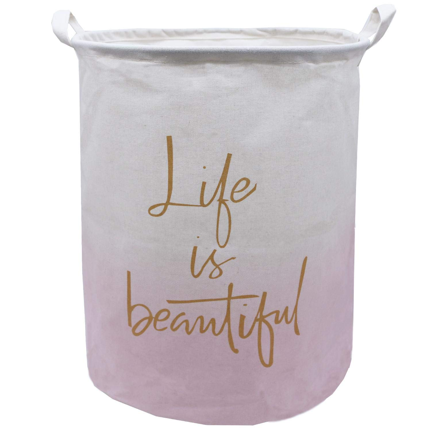 Large Canvas Laundry Hamper 19.7x15.7 Inch, Collapsible Storage Bin,ZUEXT Waterproof Linen Fabric Foldable Dirty Clothes Laundry Basket for Girls Nursery Bedroom Decor, Baby Shower Gift(Pink Life)