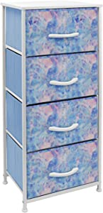 Sorbus Dresser Nightstand with 4 Drawers - Bedside Furniture & Accent End Table Chest for Home, Bedroom Accessories, Office, College Dorm, Steel Frame, Wood Top, Easy Pull Fabric Bins (Pastel Tie-dye)