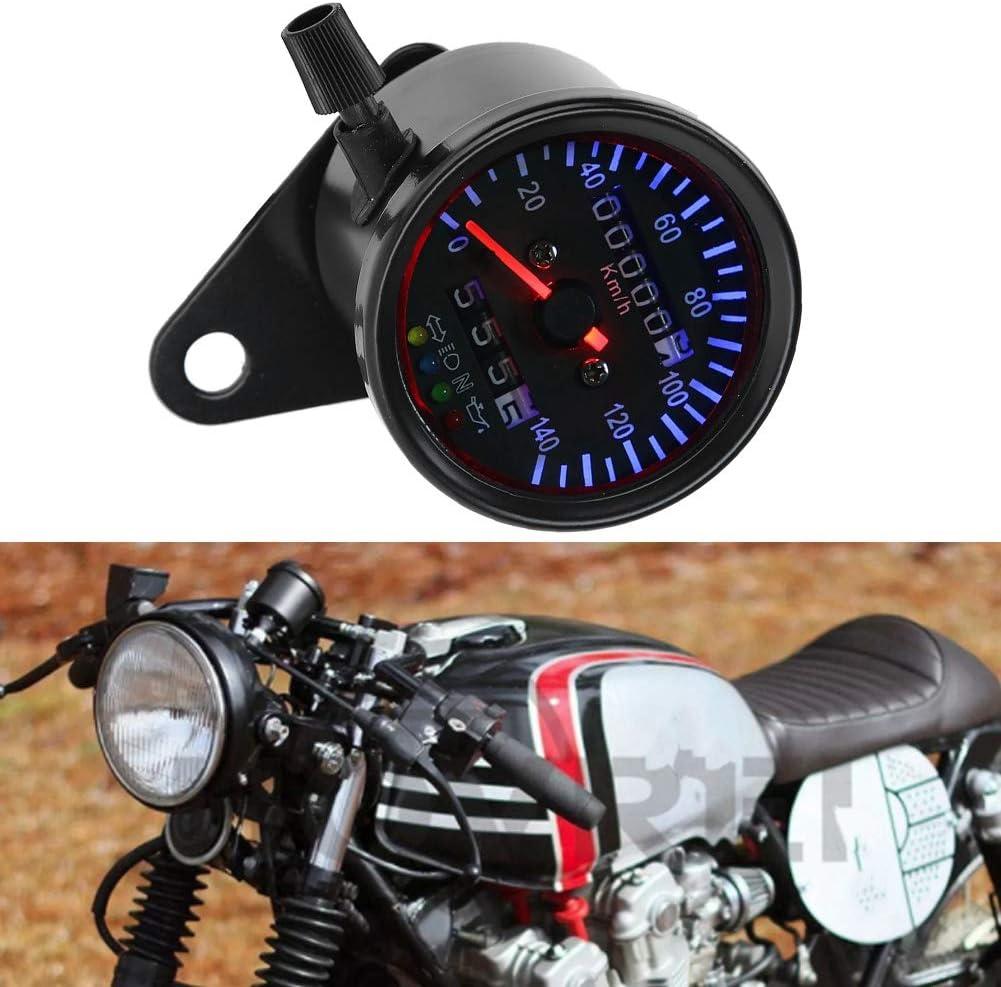 Cuentakil/ómetros BiuZi 1Pc Metal DC 12 V Retroiluminaci/ón LED Motocicleta Dual Od/ómetro Veloc/ímetro Gauge Kit Cafe Racer