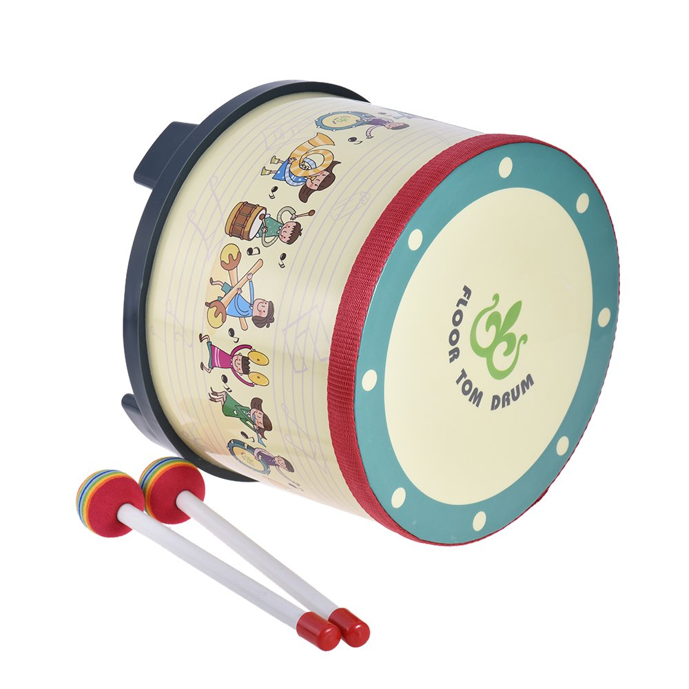ammoon 8 Inch Wooden Floor Drum Gathering Club Carnival Percussion Instrument with 2 Mallets by ammoon