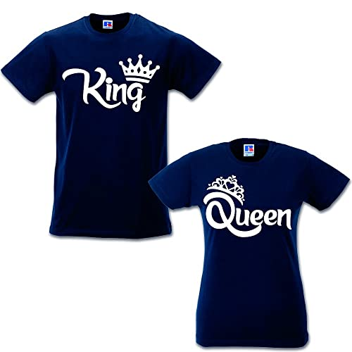 Coppia di T Shirt Magliette Love You And Me King e Queen con Corona