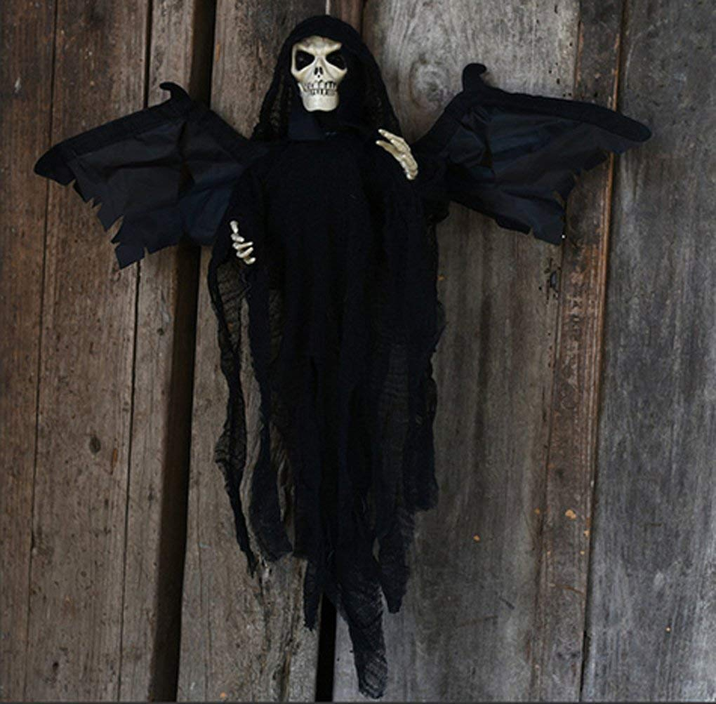 ALITOVE Black Hanging Floating Ghost With Sounds and Glowing Red Eyes Winged Animated Grim Reaper Skull Props Halloween Decorations BK-865