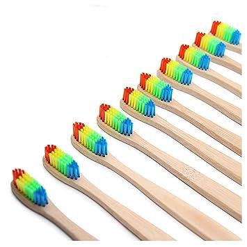 Cepillo de dientes de bambú natural de madera con cerdas suaves de carbón de bambú, 12 unidades: Amazon.es: Salud y cuidado personal