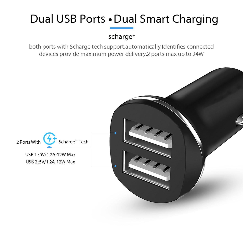 Amazon.com: Cargador de coche dual USB 5 V 2,4 A para ...