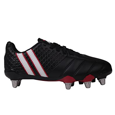 ddf79513b Patrick Kids Power X Junior Rugby Boots Lace up Padded Heel Ankle Collar  Shoes Black