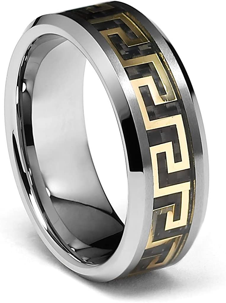 LASER ENGRAVING SERVICE 8mm Greek Key Inlay Mens Tungsten Wedding Band