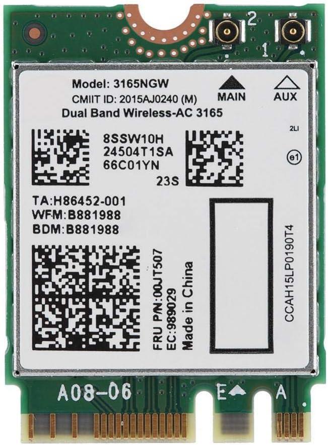 Bluetooth4.2 802.11AC Card for Lenovo Intel3165 Dual Band Wireless Network Card Bluetooth 4.2 Net Card NGFF M2 AC 3165NGW NGFF//M2 433M
