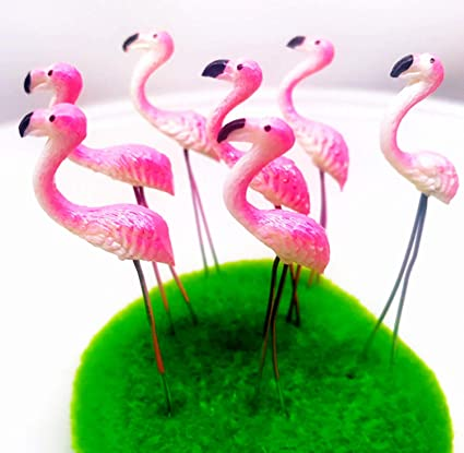 Tyga_Thai Brand Set 5 pcs. Terrarium Mini Flamingos Pink Color Stake  Miniature Dollhouse Fairy Garden Accessories (Terrarium,Flamingo,Stake)