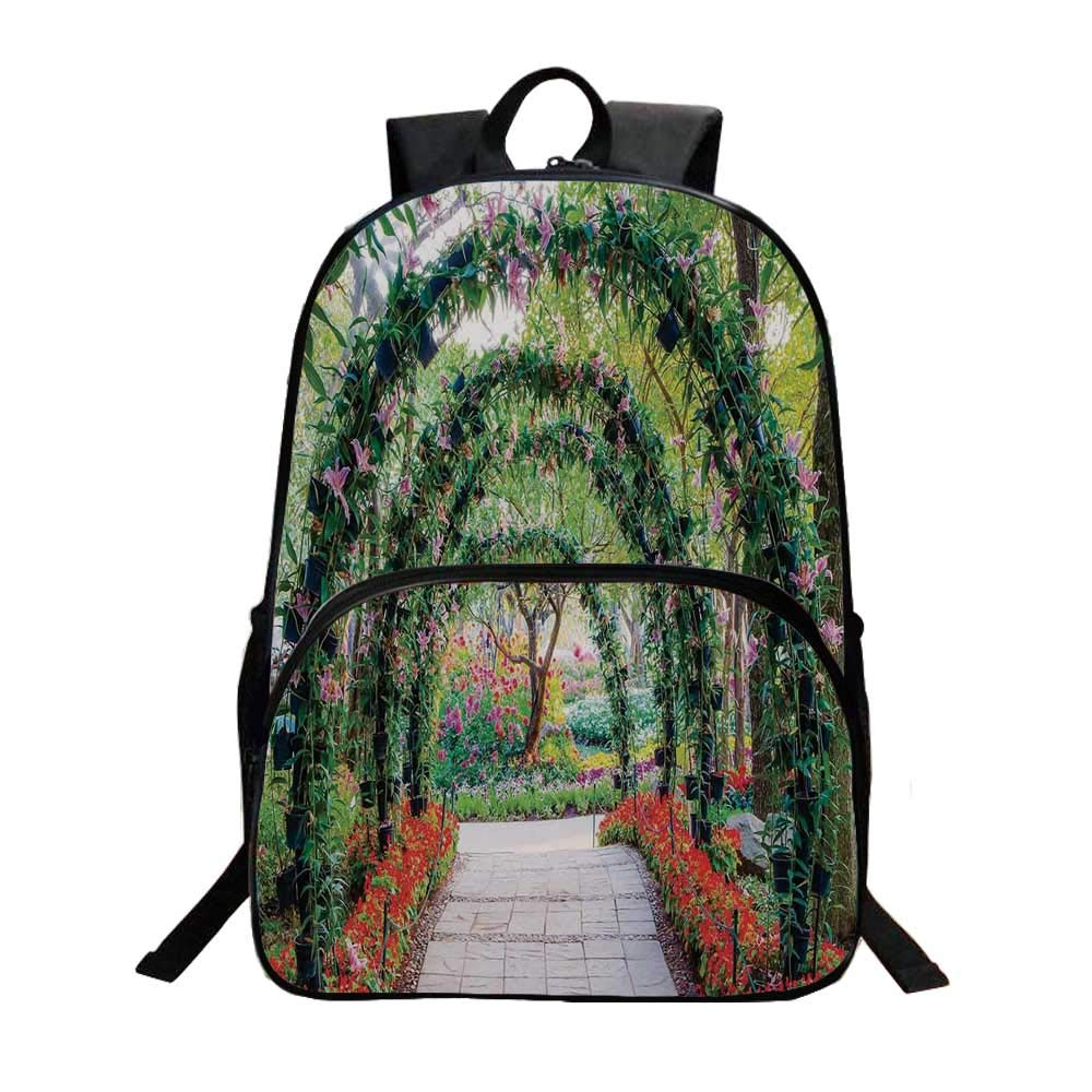 Country Home Decor Fashionable Backpack,Flower Arches with Pathway in Ornamental Plants Garden Greenery Romantic Picture for Boys,11.8''L x 6.2''W x 15.7''H by TecBillion