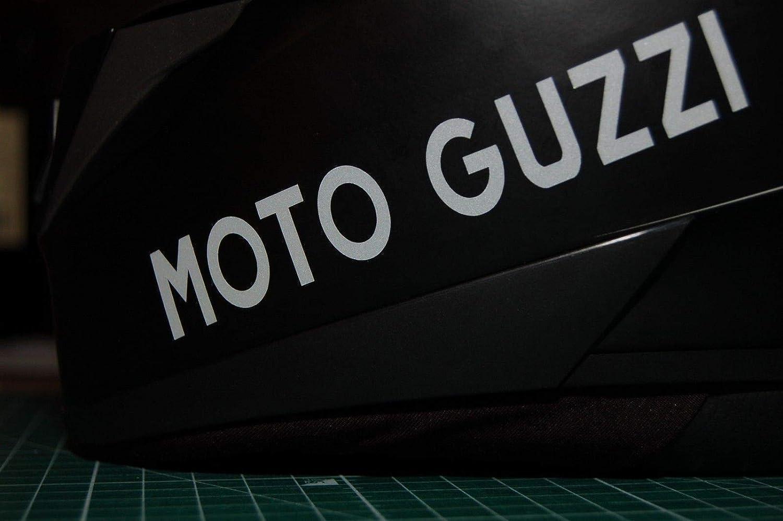 SUPERSTICKI 2X Moto Guzzi Helmaufkleber Helm Motorrad Aufkleber Bike Auto Racing Tuning aus Hochleistungsfolie Aufkleber Autoaufkleber Tuningaufkleber Hochleistungsfolie f/ür alle glatten FL