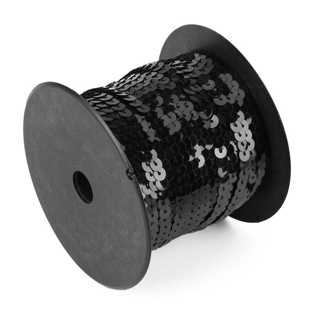 スパンコール フラット スパンコール 6ミリ スパンコール 100ヤード 光沢トリム 縫製ストリング カラフル ラウンド スパンコール パレット ファブリック リボン DIY 装飾 Walfront01s8i2gpva-03  ブラック B07H9N65CS