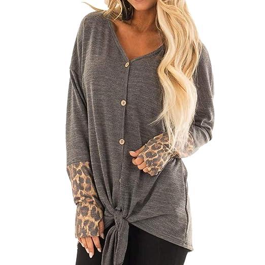 32ed33a87ad7 Amazon.com: Amlaiworld Women Leopard Print Sweater Tops Irregular Pullover  V Neck Button Tops Blosue Casual Tunic Sweatshirts: Clothing