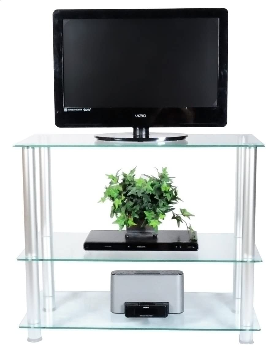 RTA Home and Office Extra Tall Glass and Aluminum LCD and Plasma TV Stand for a 35 TV