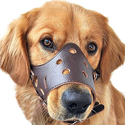 Rantow Adjustable Leather Dog Mouth Muzzle for Small/Medium/Large Dog Anti-biting Barking Safety Pet Puppy Mouth Cover Muzzles Mesh Mask (L size)
