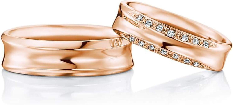 Epinki Anillo Or 18k Redondo Doble Diamante 0.16ct Anillos de Compromiso para Novia Novio