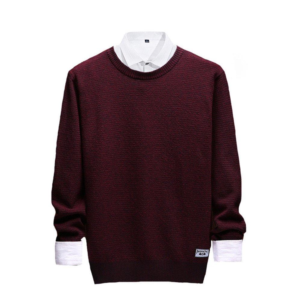 Jdfosvm männer - Pullover, männer - Herbst - Winter - männer - Pullover lässig Pullover um den Hals,Rotwein,m