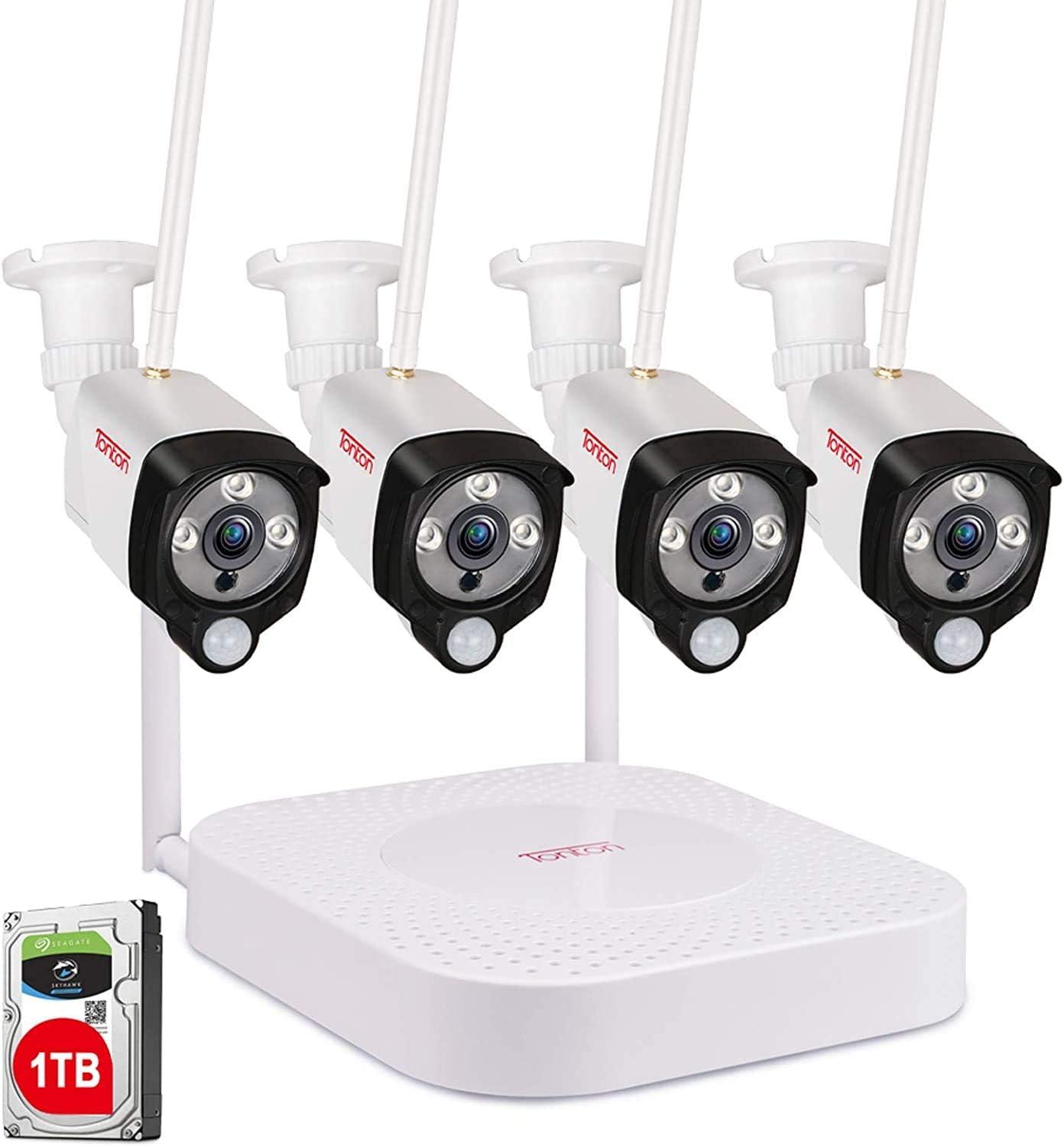 Sistema de cámaras de Seguridad inalámbricas Full HD 1080p Tonton, grabadora NVR 8CH con HDD de 1 TB y 4PCS 2.0 MP Cámaras de Bala Interiores para Interiores, Impermeables.
